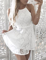 A-Line Square Neck Short White Lace Homecoming Cocktail Dress With Sash cg1522