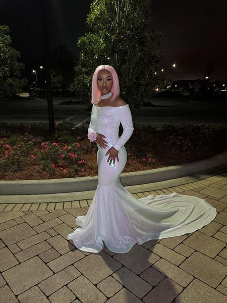 Off The Shoulder White Long Prom Dress Wih Train   cg15232