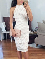 Bodycon Round Neck Knee-Length White Lace Homecoming Dress cg1523