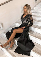Black v neck lace long prom dress evening dress   cg15252
