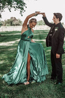 Gorgeous Halter Green Long Prom Dress with Slit   cg15256