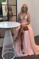 Sexy V Neck Pink Long Prom Dress With Slit   cg15257