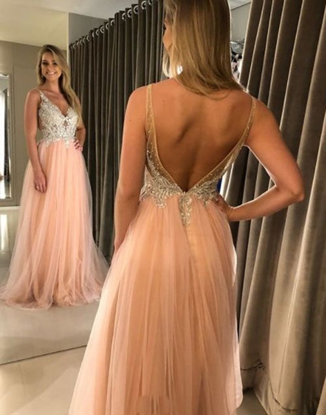 A-line V Neck Long Prom Dress,Open Back Prom Dress With Lace   cg15258