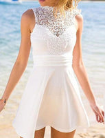A-Line High Neck Open Back Short White Satin Homecoming Dress With Lace cg1525
