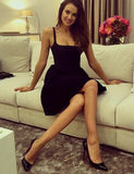 A-Line Square Neck Satin Little Black homecoming Dress cg1526