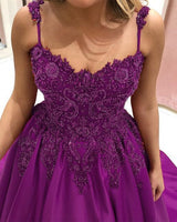 Purple Sweetheart Ball Gown Prom Dresses Lace Embroidery Beaded     cg15278