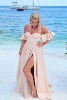 Simple long pink prom dress,pink prom dress   cg15280