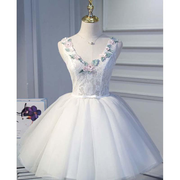 Lovely Top Lace Ball Gown Short Homecoming Dresses With Appliques, Princess Homecoming Dresses cg1529