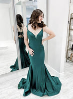 Mermaid long prom dress green satin evening dress   cg15301