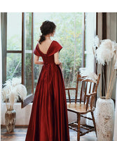 Fashionable Wine Red Satin A-Line Floor Length Junior Prom Dress, Long Evening Dress   cg15303