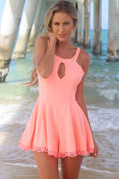 A-Line Round Sleeveless Short Coral Homecoming Dress with Keyhole Lace cg1530