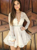 A-Line V-Neck Beaded Ivory Lace Homecoming Party Dress with Sleeves cg1531