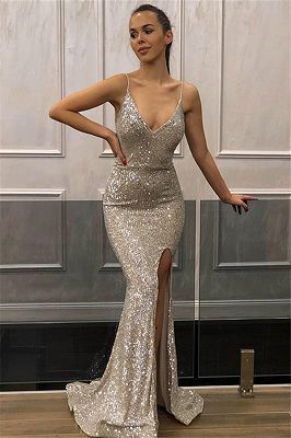 Mermaid Sleeveless Spaghetti-Straps Front-Slipt Prom Dress   cg15329