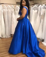 V Neck Open Back Royal Blue Long Prom Dresses, Royal Blue Formal Dresses   cg15333