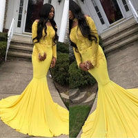 Yellow Long Sleeves Mermaid Prom Dress   cg15346