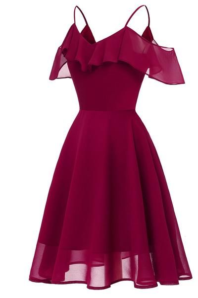 Burgundy Off-the-shoulder A-line Spaghetti Strap homecoming Dress cg1535