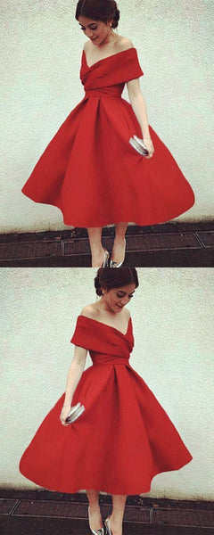 Off The Shoulder Red Satin Prom Dresses    cg15388