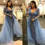 deep v neck luxury prom dresses with detachable skirt blue lace applique beaded elegant prom gown    cg15391