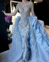luxury blue prom dresses with detachable skirt beaded crystal feather long sleeve elegant prom gown    cg15393