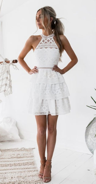A-Line Jewel Above-Knee White Tiered Lace Homecoming Dress cg1540