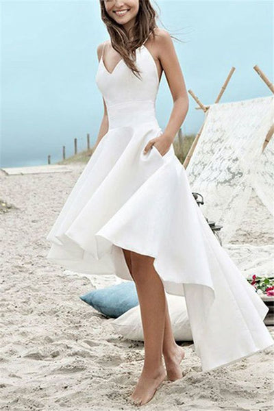 Spaghetti Straps A-Line High Low Beach Wedding prom Dress cg1541