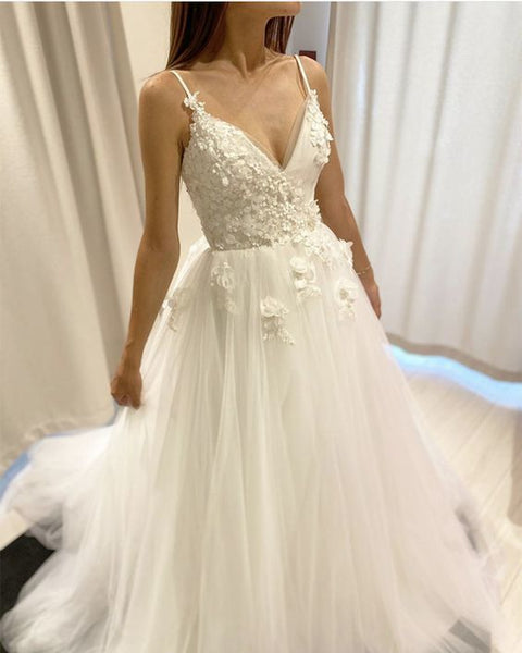 Rustic Style Tulle v neck lace flowers prom dress   cg15425