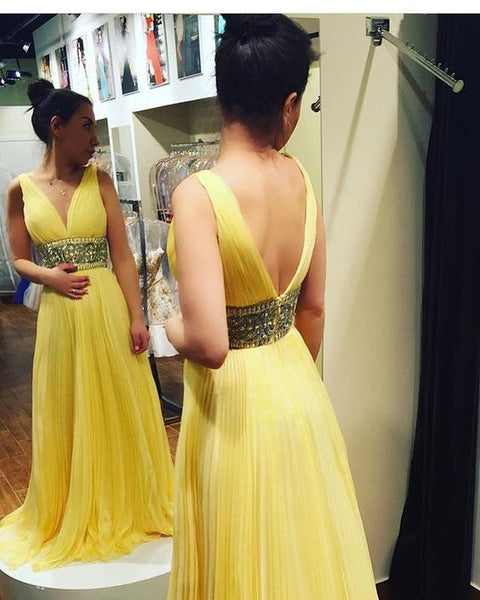 Gorgeous V Neck Empire Yellow Long Prom Dress   cg15430
