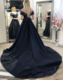 Black Off The Shoulder Long Prom Dress With Train   cg13435