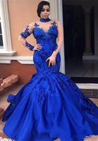 Royal-Blue Long-SleeveProm Dress | Mermaid Lace Evening Gowns   cg15444