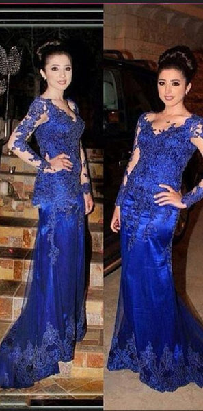 Royal-Blue Long-Sleeve Prom Dress | Mermaid Lace Evening Gowns   cg15445