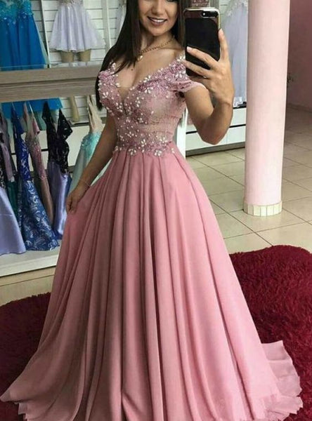 A-Line Pink Chiffon Off the Shoulder Appliques Prom Dress    cg15449
