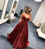 BURGUNDY SATIN LONG PROM DRESS SIMPLE EVENING DRESS   cg15454