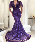 Purple Mermaid Long Prom Dress With Lace    cg15465