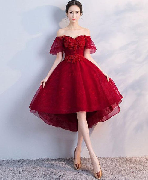 Burgundy tulle short dress, homecoming dress cg1548