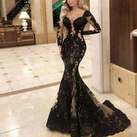 Long Sleeve Sexy V-Neck Black Evening Dresses Party Night Mermaid Prom Lace Gown   cg15491