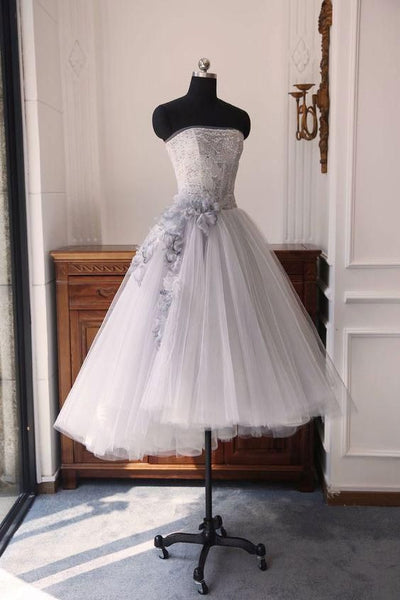 Gray sweetheart neck tulle short dress, gray tulle homecoming dress cg1549