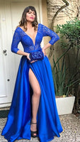 Royal Blue Deep V Neck Long Prom Dress With Split   cg15531