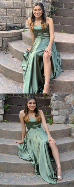 Long Prom Dresses With Slit Green Prom Dresses Modest    cg15578