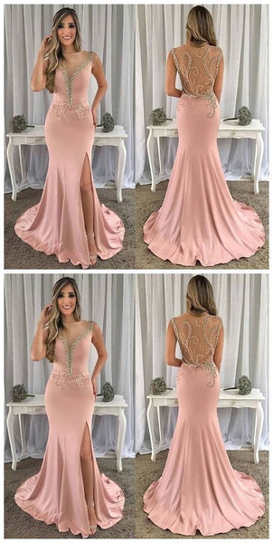 Simple Mermaid Pink Prom Dress, Charming Prom Dress   cg15591