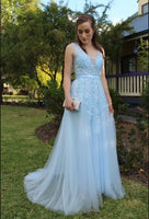 Light Blue A-line Tulle and Lace Appliqued Long Prom Dress   cg15593