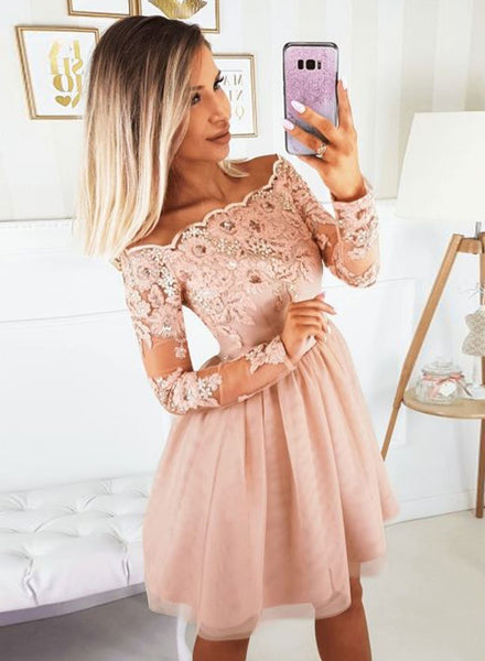 Pink tulle lace short dress, homecoming dress cg1559