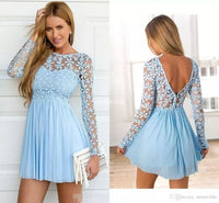 Pretty Girl Dress Long Sleeve Appliques Cocktail Dress, Mini Short homecoming Dress cg155