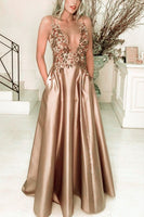 Elegant V Neck Long Satin Prom Dresses Gold Formal Gown With Lace Embroidery   cg15607