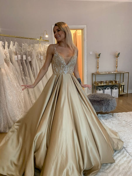 Elegant V Neck Long Satin Prom Dresses Gold Formal Gown With Lace   cg15608