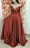 Princess Prom Dress Simple Long Satin Rust Bridesmaid Dresses Off The Shoulder Evening Gown For Women   cg15620