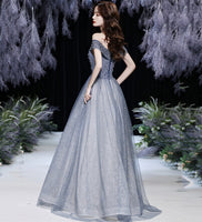 GREY TULLE BEADS LONG PROM DRESS SHINY EVENING DRESS   cg15625