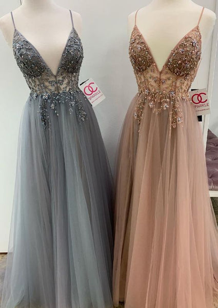 Sexy Straps V Neck Grey Long Evening Dresses, Champagne Prom Dresses Evening Dresses  cg1563