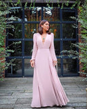 Pink long sleeve prom dresses   cg15643