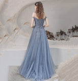 BLUE TULLE LONG PROM DRESS BLUE EVENING DRESS   cg15661