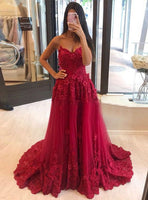 Burgundy Tulle Sweetheart Appliques Long Prom Dress 2021    cg15665